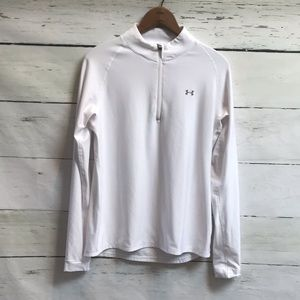 Under Armour white quarter zip pull over size Lg